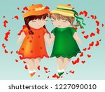 happy valentine's day. a pair... | Shutterstock .eps vector #1227090010