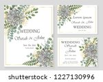 wedding invitation leaves and... | Shutterstock .eps vector #1227130996