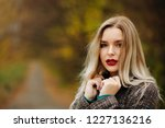 stylish dressed lovely woman... | Shutterstock . vector #1227136216