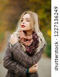 gorgeous young model with red... | Shutterstock . vector #1227136249
