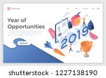 web banner with 2019 number ... | Shutterstock .eps vector #1227138190