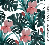 seamless tropical pattern with... | Shutterstock . vector #1227143413