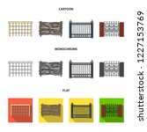 a fence of metal and bricks...   Shutterstock . vector #1227153769