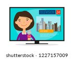live news. young woman ... | Shutterstock .eps vector #1227157009