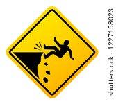 Cliff Fall Danger Vector Sign...