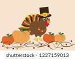 happy thanksgiving turkey | Shutterstock .eps vector #1227159013