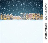 christmas house in snowfall at... | Shutterstock .eps vector #1227166090