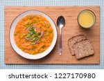 hearty tomato soup with noodles ... | Shutterstock . vector #1227170980