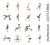workout and fitness games flat ... | Shutterstock .eps vector #1227173806