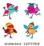 birds on ice skates. vector | Shutterstock .eps vector #122717818