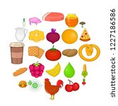 fresh food icons set. cartoon... | Shutterstock .eps vector #1227186586
