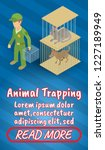 animal trapping concept banner. ... | Shutterstock .eps vector #1227189949