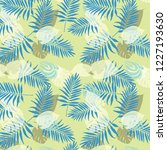 tropical palm leaves  jungle... | Shutterstock .eps vector #1227193630