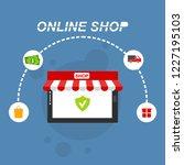 flat design banner of buy... | Shutterstock .eps vector #1227195103