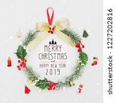 christmas wreath and happy new... | Shutterstock . vector #1227202816