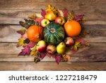 thanksgiving table centerpiece... | Shutterstock . vector #1227218479