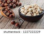 hazelnuts  filbert in burlap... | Shutterstock . vector #1227222229