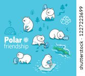 print with polar bears ... | Shutterstock .eps vector #1227223699