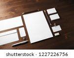 blank stationery set on wooden... | Shutterstock . vector #1227226756