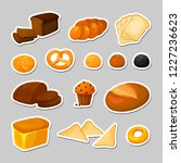 bread. vector stickers set.... | Shutterstock .eps vector #1227236623