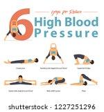 set of yoga postures female... | Shutterstock .eps vector #1227251296