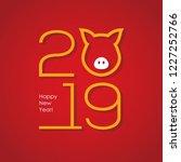 2019 chinese new year minimal...   Shutterstock .eps vector #1227252766