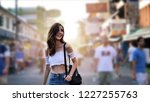 young traveling women in city... | Shutterstock . vector #1227255763
