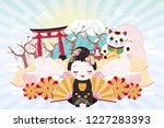 cute cartoon geisha with japan... | Shutterstock .eps vector #1227283393