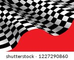 checkered flag wave on red for... | Shutterstock .eps vector #1227290860