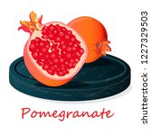 pomegranate hand drown vector... | Shutterstock .eps vector #1227329503