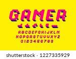 gamer font  3d stylized pixel... | Shutterstock .eps vector #1227335929