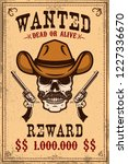 wanted poster template. cowboy... | Shutterstock .eps vector #1227336670