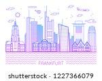 frankfurt city line art vector... | Shutterstock .eps vector #1227366079
