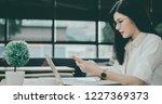asian girl is freelancer woman  ... | Shutterstock . vector #1227369373