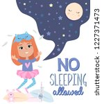 pajama party poster with fun... | Shutterstock .eps vector #1227371473