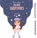 pajama party poster with fun... | Shutterstock .eps vector #1227371530