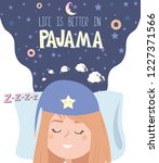pajama party poster with fun... | Shutterstock .eps vector #1227371566