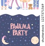 pajama party poster with fun... | Shutterstock .eps vector #1227371569