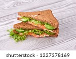 sandwich with bread toasts  red ... | Shutterstock . vector #1227378169