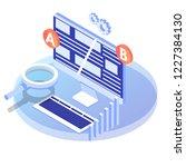 a b comparison. split testing... | Shutterstock .eps vector #1227384130