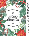 engraving christmas card with... | Shutterstock .eps vector #1227386653