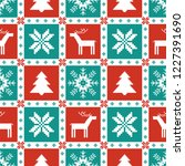 christmas knitted elements... | Shutterstock .eps vector #1227391690