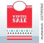 winter sale shopping bag.... | Shutterstock .eps vector #1227392563