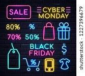 illuminated neon signs logo... | Shutterstock . vector #1227396679