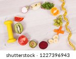 dumbbell  tape measure and... | Shutterstock . vector #1227396943