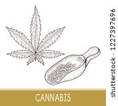 cannabis. sheet. spoon with... | Shutterstock .eps vector #1227397696