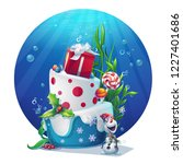 festive set   snowman  cake ... | Shutterstock .eps vector #1227401686