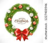 christmas wreath. happy new... | Shutterstock .eps vector #1227403546