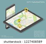 city map route navigation... | Shutterstock .eps vector #1227408589