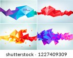vector set of abstract facet 3d ... | Shutterstock .eps vector #1227409309